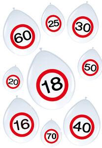 8-bedruckte-Luftballons-WUNSCHZAHL-Verkehrsschild-30cm-Jubilaeum-Dekoartion-PARTY
