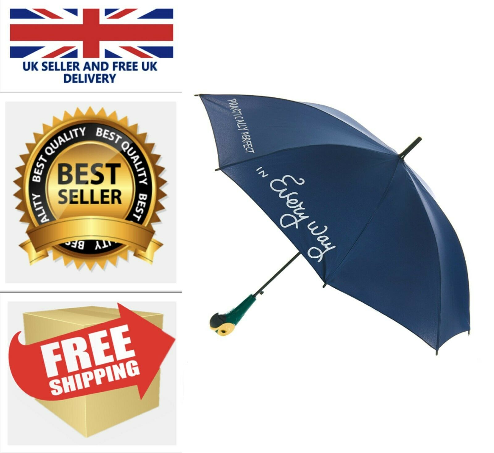 Disney's Mary Poppins Umbrella With The Iconic Parrot Handle Full Size FAST&FREE