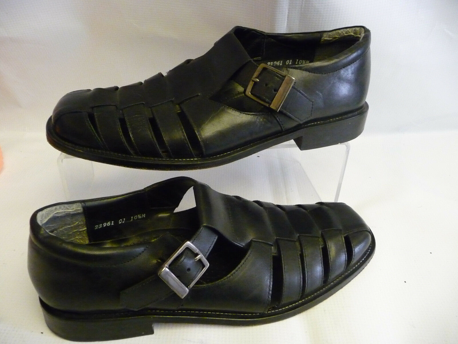 STACY ADAMS Mens Fisherman Sandals Size 10.5M Black Leather Loafers Buckle