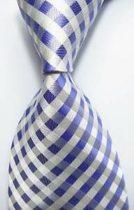 New-Classic-Checks-Blue-White-JACQUARD-WOVEN-100-Silk-Men-039-s-Tie-Necktie