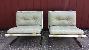 vintage leather chrome chairs ebay