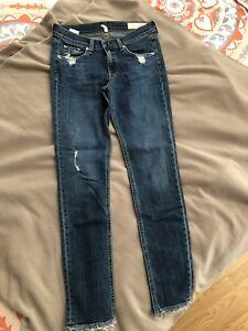 in ossa Hems Size Paz aderenti 27 stracci grezzi e La Jeans Wash Distressed ICAwqtt