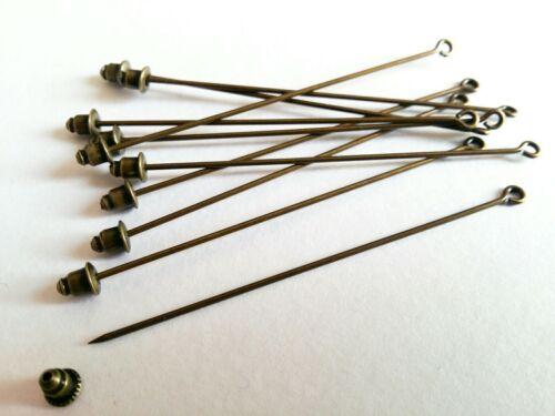 Anuncio de varios 10PCS Loop Ojo Hijab//Sombrero//Broche Pin espacios en blanco con balas de extremo