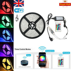 0174c29f503b Waterproof 5050 RGB LED Strip lights Kit Wifi APP Alexa Music ...
