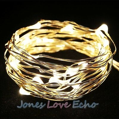 10ft 3M Warm White Battery Powered Copper Wire 30 Led String Fairy Light USA