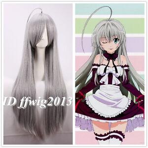 Haiyoru! Nyaruani Nyaruko 80cm Long straight gray Anime Cosplay Wig + a wig cap