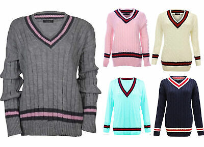 Ladies Long Sleeves V Neck Cricket Cable Knitted Sweater Lot Womens Plain Jumper