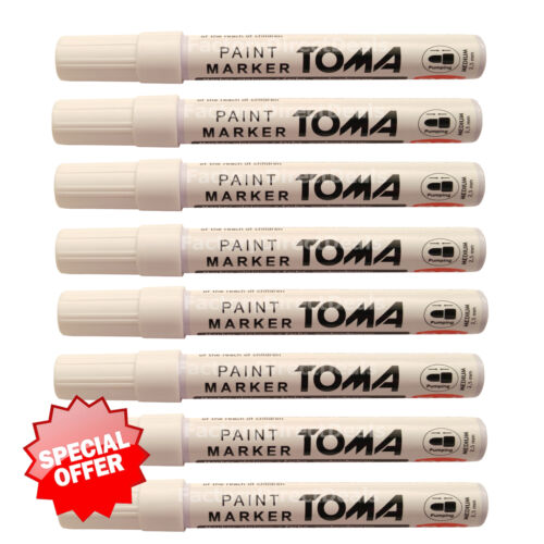 8 x White Paint Marker Oil Based Pen Stone Metal Wood Glass Plastic Tyre* Medium