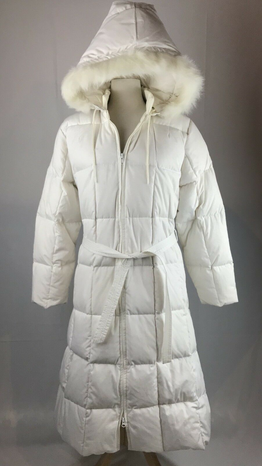 Vintage Gander Mountain Women's Down Puffer Parka Coat White Faux Fur Hood Med