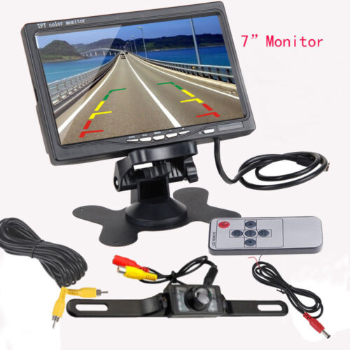 """7/"""" TFT LCD Monitor Car Rear View System Backup Reverse Camera Night Vision Kit"""