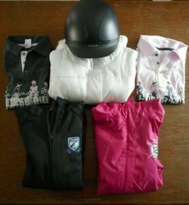 lot-vetements-equitation-blousons-doudoune-polo-casque-enfant-ado-cheval