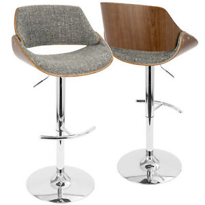 e83993bf7495 Image is loading Fabrizzi-Mid-Century-Modern-Adjustable-Barstool-with-Swivel -