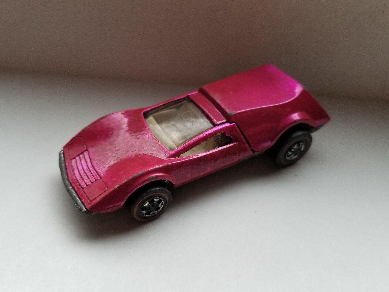 1970 Hot Wheels rojoline Tri-Baby rosado Intenso
