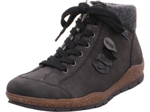 Rieker Damen NV Winter Stiefel Boots Stiefelette warm Schnürer grau