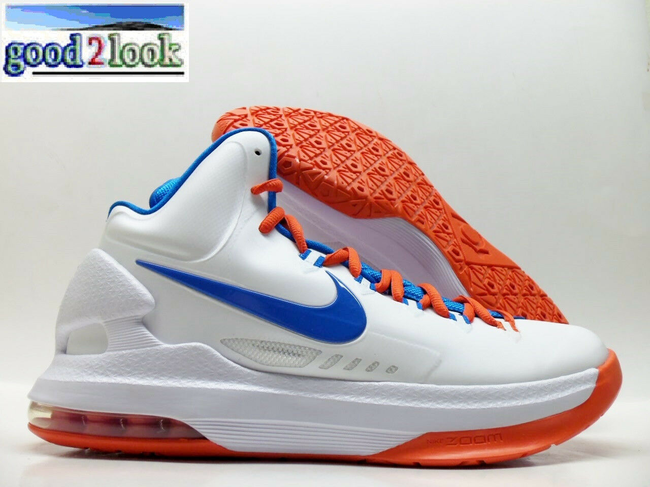 NIKE ZOOM KD V KEVIN DURANT WHITE/PHOTO BLUE-ORANGE SIZE MEN'S 10 Price reduction Seasonal clearance sale