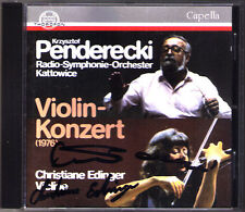 Krzysztof PENDERECKI & Christine EDINGER Signed Violin Concerto No.1 CD Thorofon