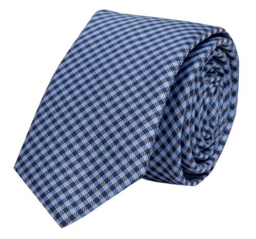 Schlips Krawatte Krawatten Binder 6cm blau kariert Fabio Farini