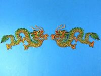 Quality Embroidered Golden Green Chinese Dragon Pair 7 Embroidered Patch