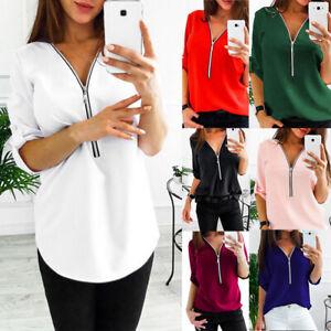 Women-V-Neck-Zipper-Pleated-Loose-Chiffon-Shirts-Ladies-Long-Sleeve-Tops-Blouse