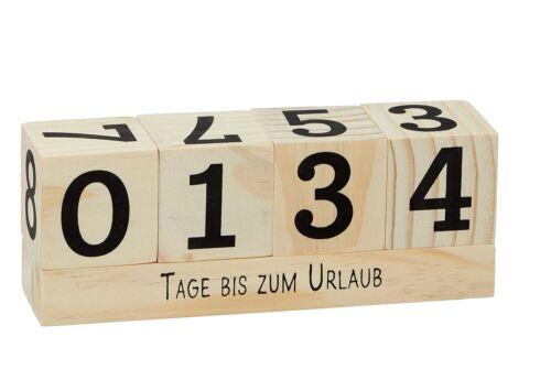 Countdown Würfel Holz 16 x 6 cm Tageszähler Natur Tischdeko Kalender Hochzeit