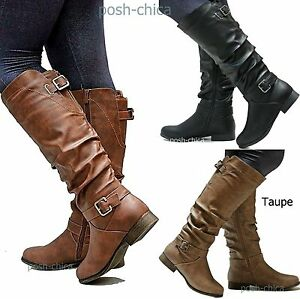 New Women TS66 Tan Black Riding Knee High Boots sz 5 to 11  a58979ff5e