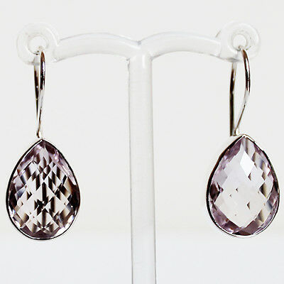 925 Sterling Silver Semi-Precious Natural Stone drop Earrings - Faceted Amethyst
