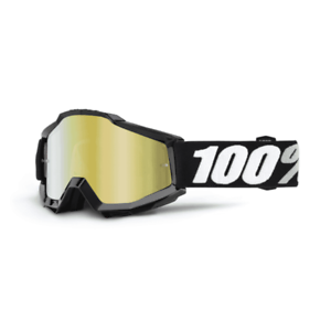 100% Adults Accuri Motocross MX Goggles - Tornado With gold Mirror Lens
