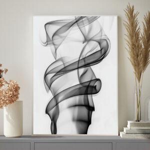 Black White Grey Coco Chanel Inspired Abstract Smoke Bedroom Wall Art Print Ebay