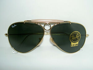 ea44bba9a9 New RAY BAN Sunglasses AVIATOR SHOOTER Gold RB 3138 001 Glass G-15 ...