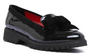 b293ab7f2391 Justin Reece Womens Bow Slip on Loafer in Black Leather Patent Size ...