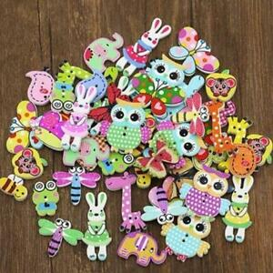 Lots-50Pc-Mixed-Bulk-Animal-Wooden-Sewing-Buttons-Scrapbook-DIY-Craft-2-Hole