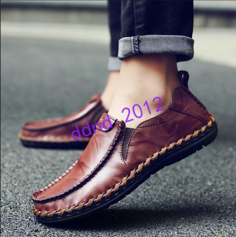 Scarpe casual da uomo uomo New Round Toe Slip On Leather Breathable Driving Casual Loafers Shoes