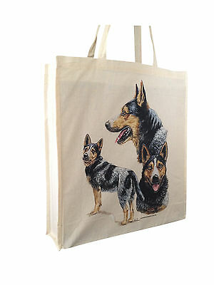 Australian Cattle Dog Cotton Shopping Tote Bag Gusset and Long Handles