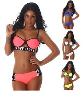 Damen-Push-Up-Beachwear-Bademode-Bikini-Badeanzug
