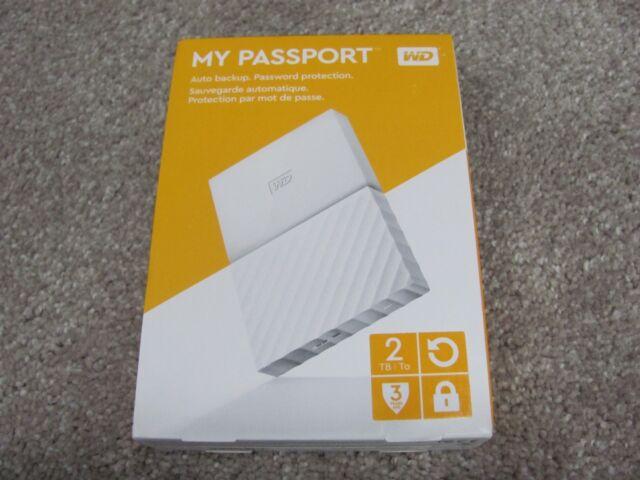 WD My Passport 2TB Portable External Hard Drive White USB 2.0/3.0 WDBYFT0020BWT