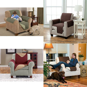 Quilted Reversible Chair Recliner Pet Protector Cover Microfiber 3 Colors Comfy