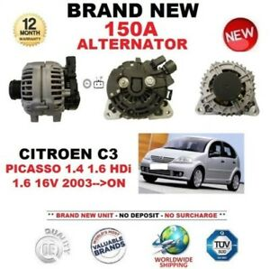 FOR CITROEN C3 PICASSO 1.4 1.6 HDi 1.6 16V 2003> 150A ALTERNATOR w CLUTCH PULLEY