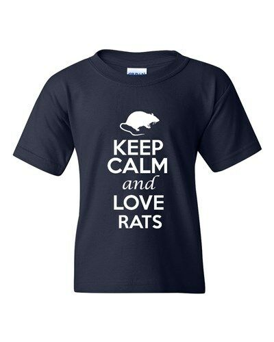 Keep Calm And Love Rats Animals Novelty Statement Youth Kids T-Shirt Tee