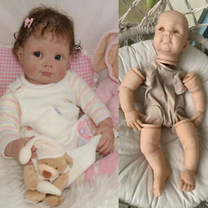 """22"""" Unpainted DIY Doll Accessories Silicone Reborn Baby Doll Kit Cloth Body Eyes"""