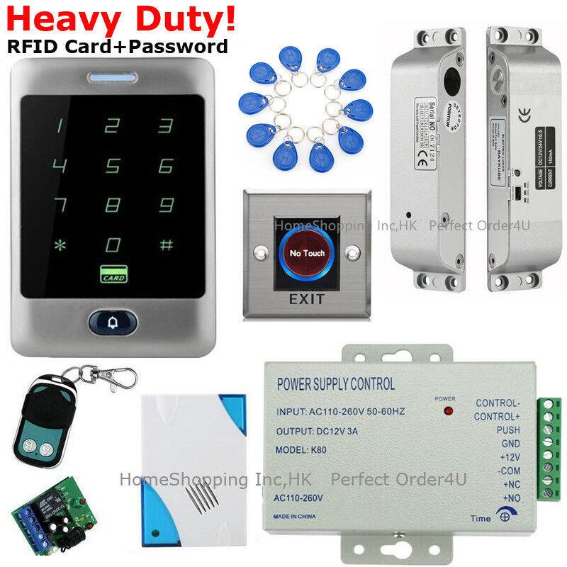 Estados Unidos Tarjeta RFID impermeable + contraseña sistema de control de acceso + Caída Perno Cerradura + Timbre