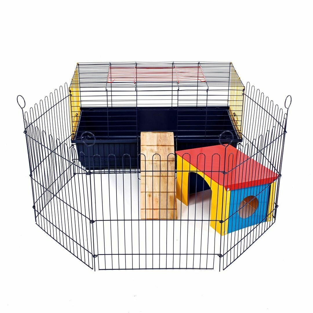 Indoor Rabit Cage With Run 80 CM - Small Pet Guinea Pig Single Tier - Brand New