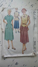 Vintage 1951  McCALL'S PATTERN Misses' Dress & Poncho Apron, Sz 14/32, #8630