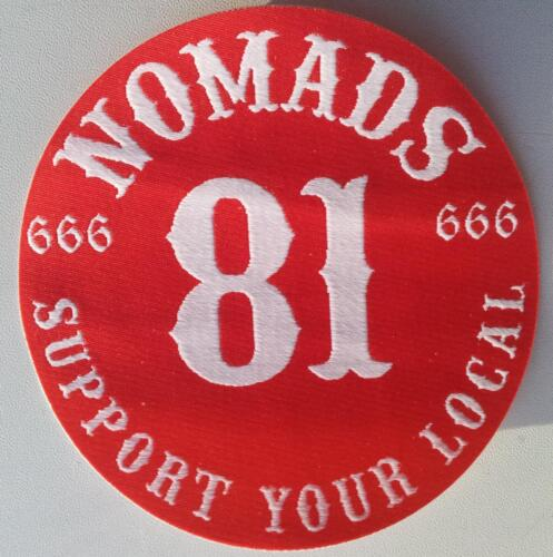 MC Woven Patch NOMADS 666 SUPPORT YOUR LOCAL 81  Angels Hells Riders Sew Iron