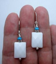 Faceted Pure White Jade W. Blue Turquoise Sterling Silver Earrings A0427