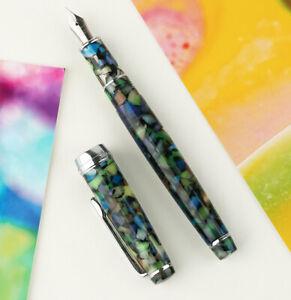 New-Delike-Green-Resin-Fountain-Pen-NewMooon-Series-EF-F-Bent-Nib-Gift-Ink-Pen