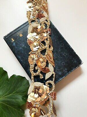 1 Meter Indian Gold Diamonte Lace Trim Handmade Wedding Dress Bridal Belt Craft