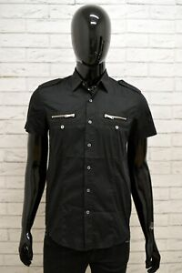 Camicia-Uomo-ANTONY-MORATO-Taglia-Size-S-Maglia-Shirt-Man-Manica-Corta-Nero