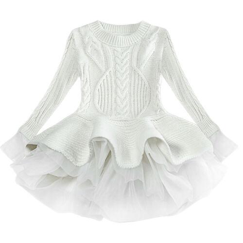 Kids Girls Knitted Sweater Top Organza Pullover Crochet Tutu Dress Plain Clothes
