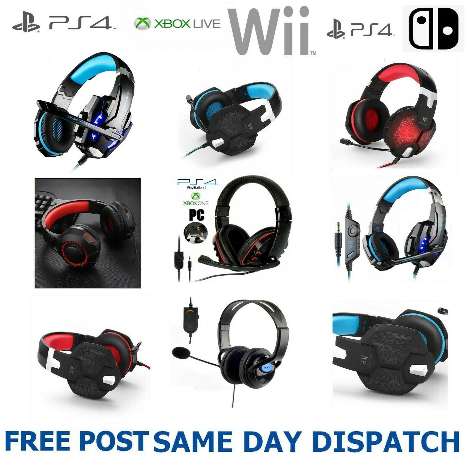 New Pro Stereo Surround Live Gaming Headset For PS4 Wii XBOX One Switch