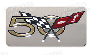 03 Corvette Exhaust Plate NEW 50th Emblem Stainless Steel 43743
